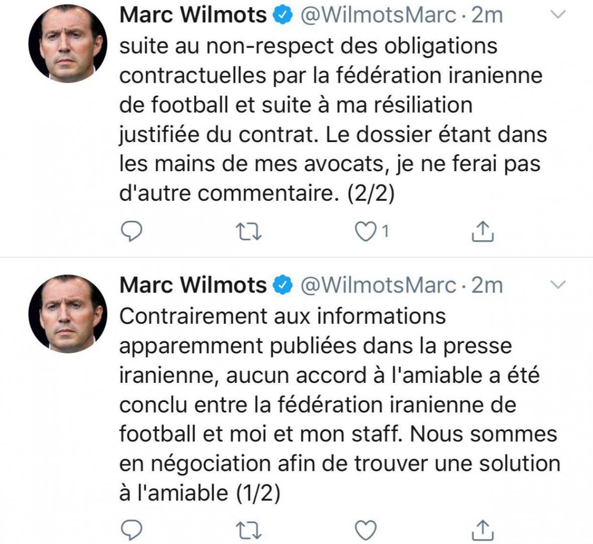 ویلموتس: هیچ توافق محبت آمیز ای میان من، دستیارانم و فدراسیون فوتبال ایران حاصل نشده است